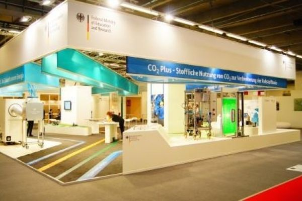 The picture shows the ACHEMA booth of the BMBF
